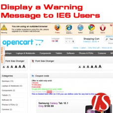 Display a Warning Message to IE6 Users for OpenCart v.1.5.0.x & 1.5.1.x